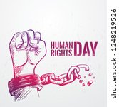hand drawn fist raise up... | Shutterstock .eps vector #1248219526