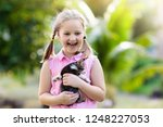child holding baby cat. kids... | Shutterstock . vector #1248227053