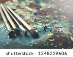 drawing brushes on canvas | Shutterstock . vector #1248259606