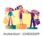 people stand on the podium... | Shutterstock .eps vector #1248265699
