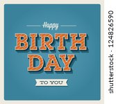 Постер, плакат: Happy birthday card Retro
