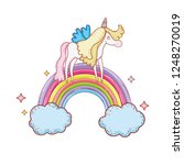 cute unicorn with clouds and... | Shutterstock .eps vector #1248270019