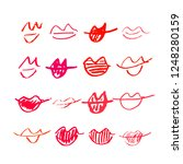set of hand drawn lipstick kiss ... | Shutterstock .eps vector #1248280159