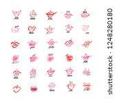 set of hand drawn lipstick kiss ... | Shutterstock .eps vector #1248280180