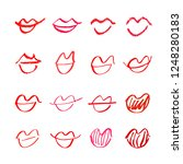 set of hand drawn lipstick kiss ... | Shutterstock .eps vector #1248280183