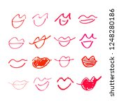 set of hand drawn lipstick kiss ... | Shutterstock .eps vector #1248280186