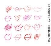 set of hand drawn lipstick kiss ... | Shutterstock .eps vector #1248280189