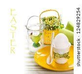 Easter morning. Egg for breakfast and Easter decoration. - stock photo