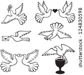 set symbolic images with doves   Shutterstock .eps vector #124830598