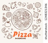 pizza sketch background and... | Shutterstock .eps vector #1248321346