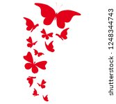 beautiful red butterflies ... | Shutterstock .eps vector #1248344743
