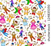 seamless pattern with kids... | Shutterstock .eps vector #124835350