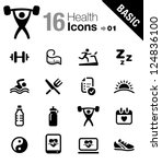 basic   health and fitness icons | Shutterstock .eps vector #124836100