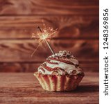 holiday birthday cupcake with... | Shutterstock . vector #1248369856