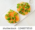 two open sandwiches with salmon ... | Shutterstock . vector #1248373510
