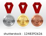 sports medals. golden silver... | Shutterstock .eps vector #1248392626