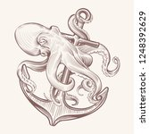 octopus with anchor. sketch sea ... | Shutterstock .eps vector #1248392629