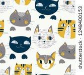 cute cats muzzles seamless... | Shutterstock .eps vector #1248400153