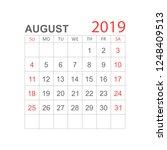 calendar august 2019 year in... | Shutterstock .eps vector #1248409513