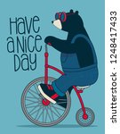 cute bear on bicycle | Shutterstock .eps vector #1248417433