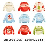 christmas sweaters set  warm... | Shutterstock .eps vector #1248425383
