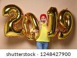 women celebrating new year... | Shutterstock . vector #1248427900