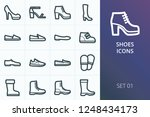 Stock vector shoes icons set set of felt boots ballet flat shoes moccasins espadrille knee high boots high 1248434173