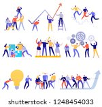 teamwork icons flat colorful... | Shutterstock .eps vector #1248454033