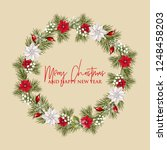christmas party wreath... | Shutterstock .eps vector #1248458203