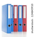 set of binders in red and blue... | Shutterstock . vector #124845910