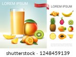 realistic fresh fruit juice... | Shutterstock .eps vector #1248459139