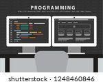 programmer workdesk two monitor ... | Shutterstock .eps vector #1248460846
