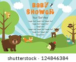 baby shower. forest friends.... | Shutterstock .eps vector #124846384