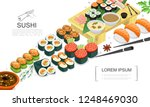 isometric sushi food collection | Shutterstock .eps vector #1248469030