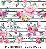 Stock vector vintage tropical flower pattern with stripe background 124849378