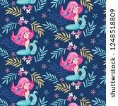 little cute mermaid seamless... | Shutterstock .eps vector #1248518809