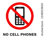 no cell phones sign. sticker... | Shutterstock .eps vector #1248523810