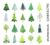 watercolor green christmas tree ... | Shutterstock . vector #1248531790