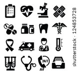 vector black medical icons set on white