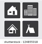 web icons set  buildings