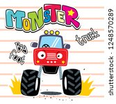 cartoon of cute red monster... | Shutterstock .eps vector #1248570289