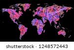 map of world made of entangled... | Shutterstock . vector #1248572443