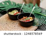 superfoods smoothies bowl... | Shutterstock . vector #1248578569