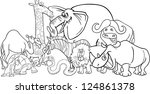 black and white cartoon... | Shutterstock .eps vector #124861378