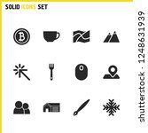universal icons set with map...