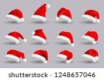 set of red santa claus hats... | Shutterstock . vector #1248657046