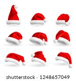set of red santa claus hats... | Shutterstock . vector #1248657049