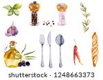 watercolor spice set. painted... | Shutterstock . vector #1248663373