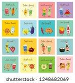 vector color funny food emoji... | Shutterstock .eps vector #1248682069