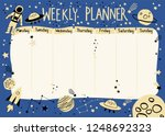 weekly planner with space theme ... | Shutterstock .eps vector #1248692323
